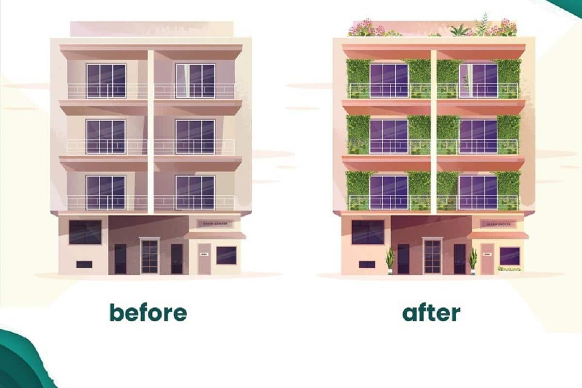 Before and after building